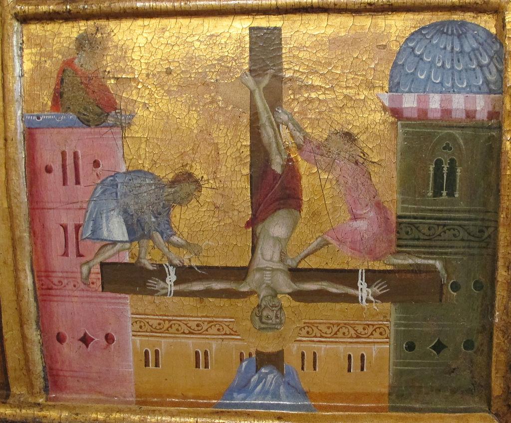 Guido_di_graziano,_san_pietro_in_trono,_1278-1302_ca._crocifissione_di_pietro